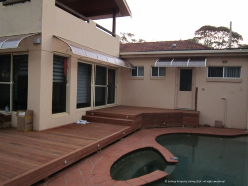 Exterior Renovation - Frenchs Forest - May 2013 - WIP 06 - New decking+lights+steps