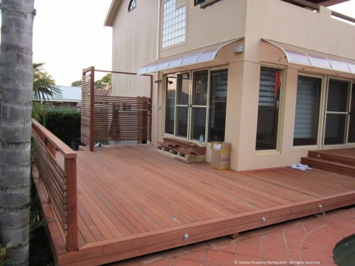 Exterior Renovation - Frenchs Forest - May 2013 - WIP 07 - New decking+lights+balustrade+screen+stairs