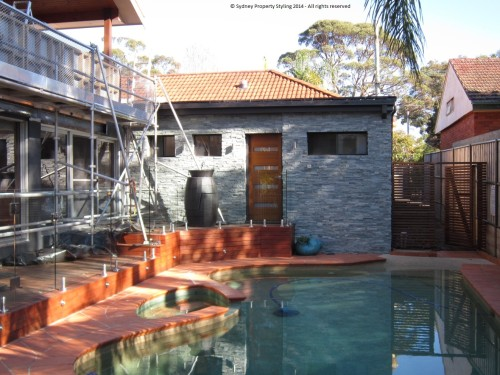 Exterior Renovation - Frenchs Forest - May 2013 - WIP 14 - New cladding+door+wooden screen