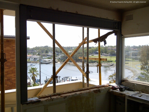 Unit Renovation - Cronulla - February 2014 - WIP 1 - new steel frame and lintel for new window