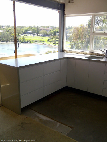 Unit Renovation - Cronulla - February 2014 - WIP 5 - new cupboards+sink