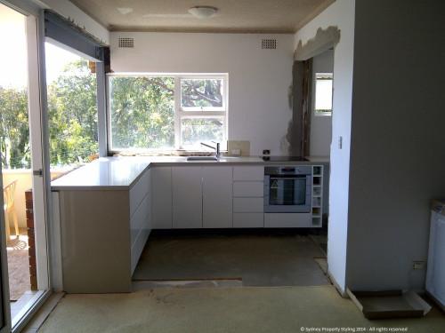 Unit Renovation - Cronulla - February 2014 - WIP 7 - new cupboards+countertop+sink